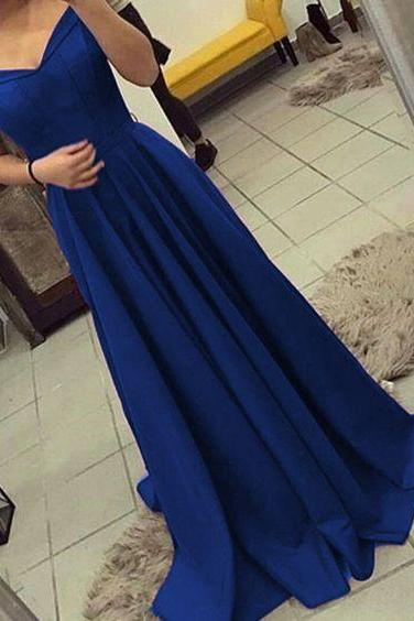 off shoulder bridesmaid dress,long satin gowns,royal blue prom dress,royal blue evening gowns,prom dresses 2018
