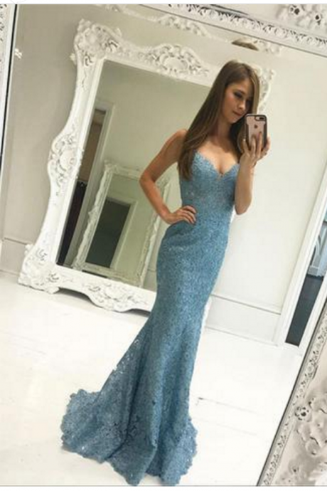 Sexy Lace Mermaid Prom Dresses With V Neck , Long Evening Dress for Occasion, Formal Evening Gowns