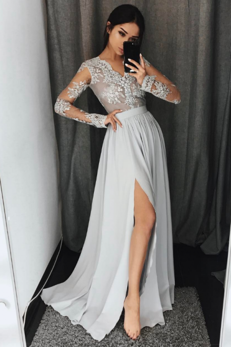 Gray A-Line long sleeve lace prom dress,gray evening dresses
