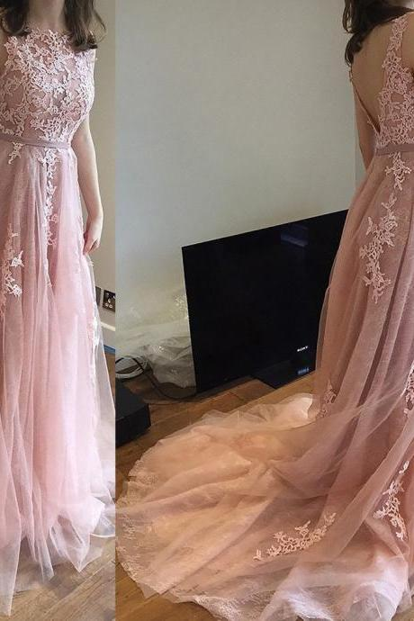 pink prom dresses with lace long prom gowns modest evening dress