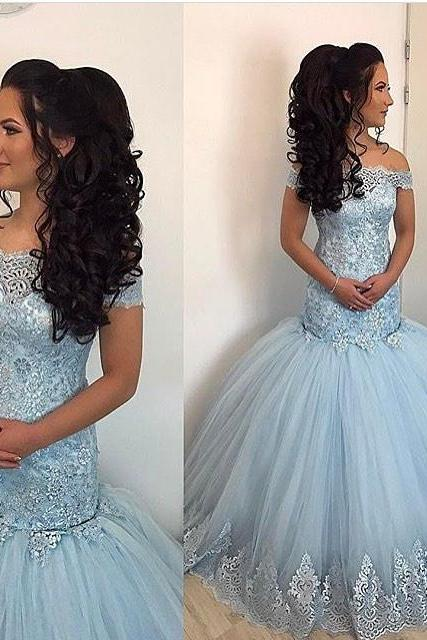 Light Blue Prom Dresses, Mermaid Evening Dresses,Lace Prom Dress,Off The Shoulder Gowns,Elegant Prom Dresses
