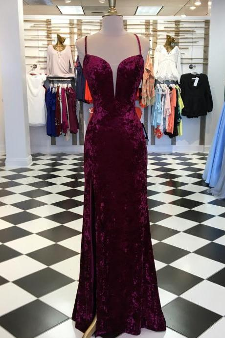 Elegant Burgundy Velvet Mermaid Long Prom Dress with Slit,Prom Dresses,Evening Dress, Prom Gowns, Formal Women Dress,prom dress