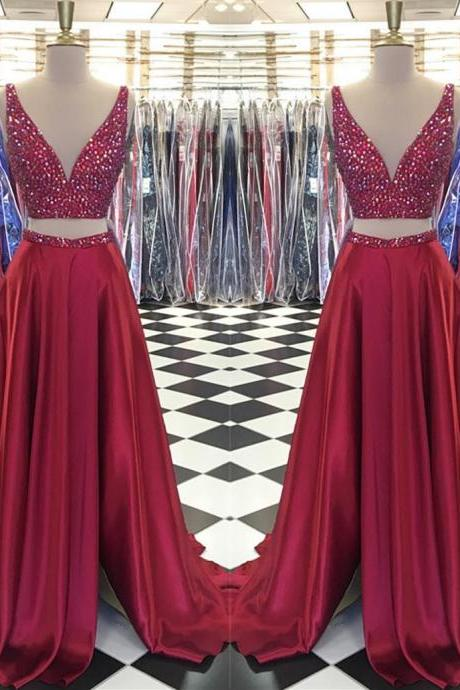 Sexy Sleeveless Prom Dress, Two Piece Prom Dresses,Beaded Long Evening Dress