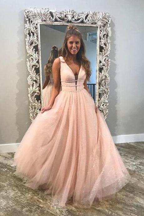 Shinny Prom Dresses with Crystal Organza V-Neck Ruffles Long Prom Gowns Fashion,BD307