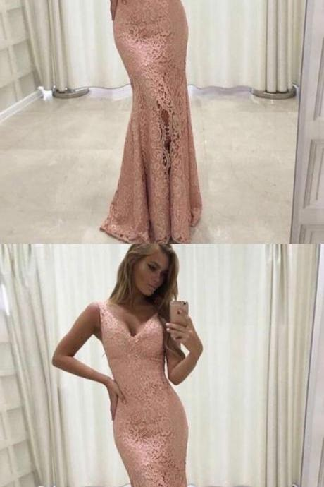 mermaid pink lace prom party dresses, elegant formal evening gowns,BD311