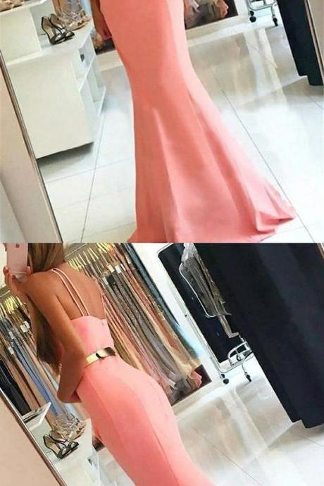 pink mermaid prom party dresses, simple fashion formal evening gowns,BD312