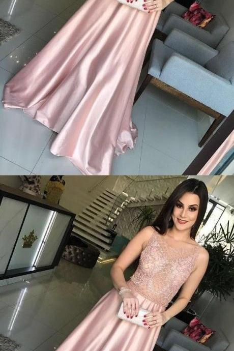 elegant pink formal party dresses with beaded, fashion prom gowns with beaded,BD317