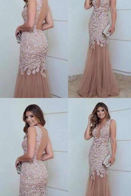 elegant prom party dresses with appliques, fashion formal evening gowns with plunging neckline,BD322