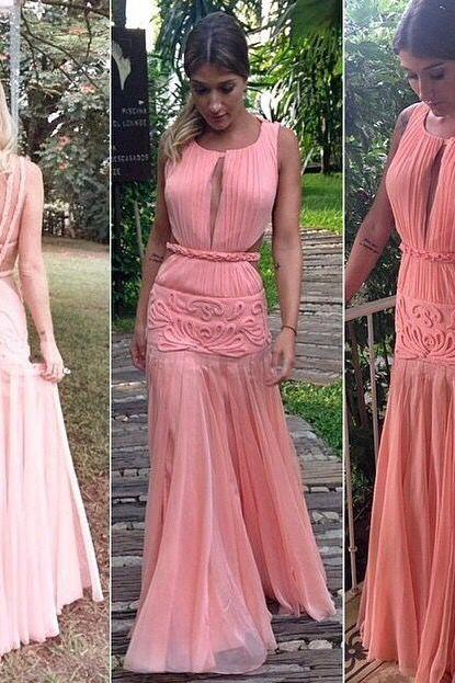 Pink Prom Dresses,Simple Formal Dresses,Prom Dresses,Teens Fashion Evening Gown,Evening Dress,Pink Party Dress,Chiffon Prom Gowns,BD542