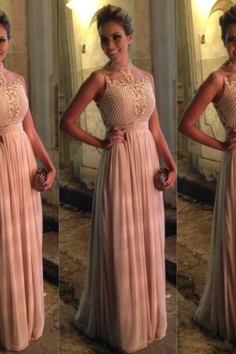 Simple Formal Dresses,Prom Dresses,Teens Fashion Evening Gown,Pink Party Dress,Chiffon Prom Gowns,BD544