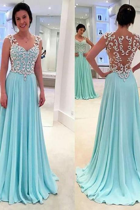 Lace Prom Dresses,Light Sky Blue Prom Dress,Modest Prom Gown,A Line Prom Gown,Lace Evening Dress,Chiffon Evening Gowns,Lace Party Gowns,BD546