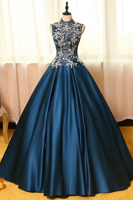 Ball Gown Prom Gowns,Lace Prom Dresses,Satin Prom Dresses,Satin Prom Gown,Prom Dress,Evening Gown For Teens,BD550