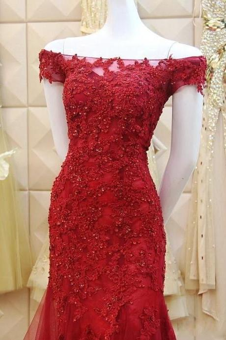 Prom Dresses,Prom Dress,Burgundy Long Floor Length Prom Dress Mermaid Lace Evening Gowns,BD553
