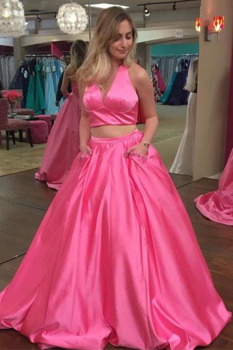 two piece prom dress,halter prom dress,v neck dress,ball gowns dress,BD559
