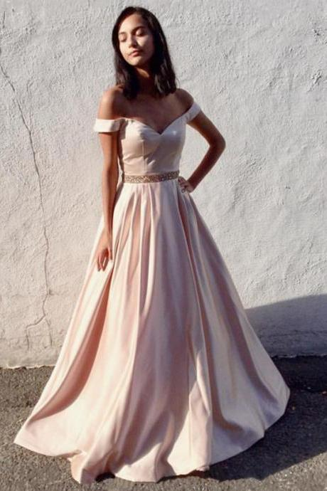 Off The Shoulder Gowns,Ball Gowns Prom Dresses,Satin Evening Dresses,BD561