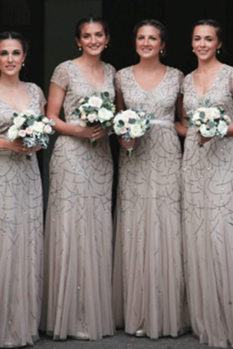 Sliver Sequins Beading Tulle Long Bridesmaid Dresses,BW92158