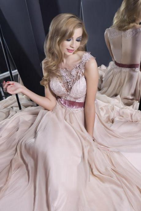 pearl pink prom dresses,Pearl Pink A-line Scoop Floor-length Chiffon Evening Dress Prom Dresses,BW93025