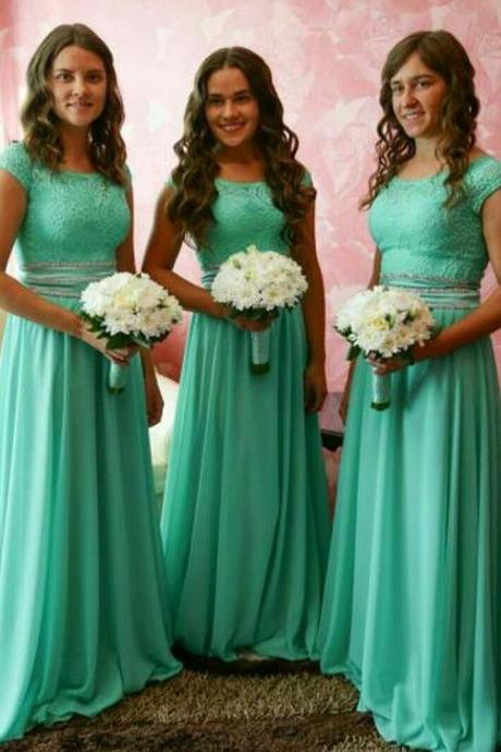 Short Sleeves A Line Long Bridesmaid Dresses with Lace,BW93636