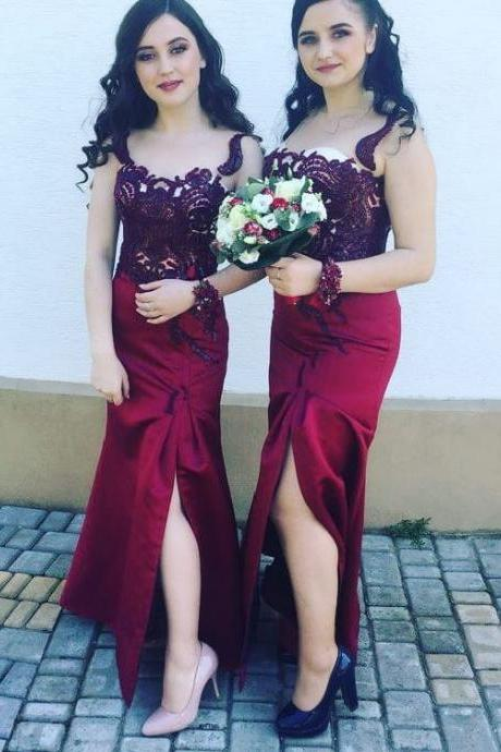 Sheath Sleeveless Side Split Long Bridesmaid Dresses,BW93638
