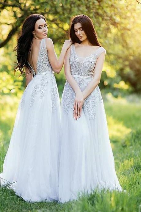 A Line Backess Lace Applique Bridesmaid Dresses,BW93641