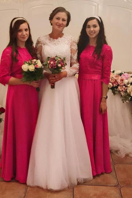 Half Sleeves A Line Lace Bridesmaid Dresses with Belt,BW93644