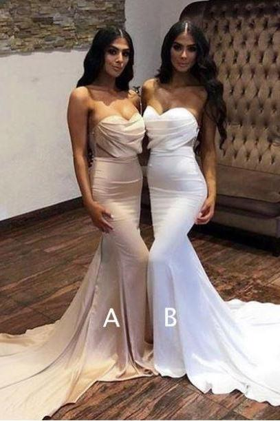 Sweetheart Strapless Mermaid Train Long Bridesmaid Dresses,BW93650