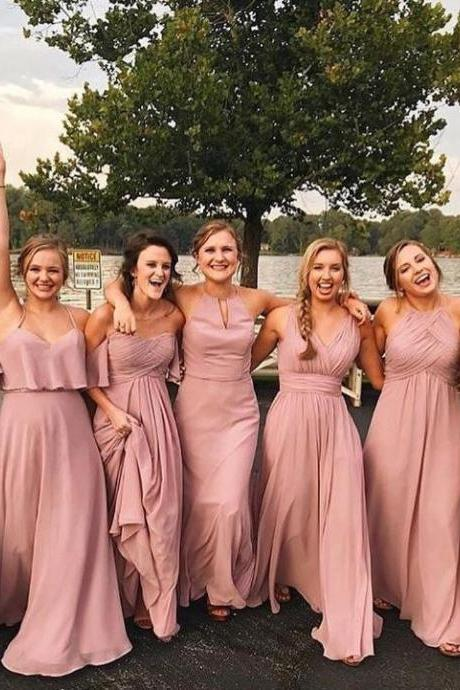 Chiffon Bridesmaid Dresses, Long Bridesmaid Dresses,BW93651