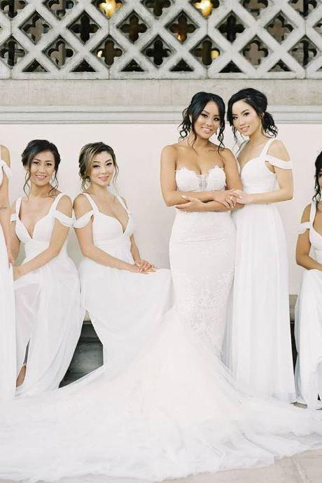 Plunging Neck Bridesmaid Dresses, Long Bridesmaid Dresses, BW93652