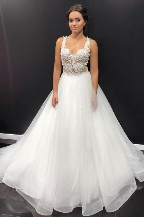 Elegant White Tulle Appliques Formal Wedding Dresses with Spaghetti Straps,BW93657