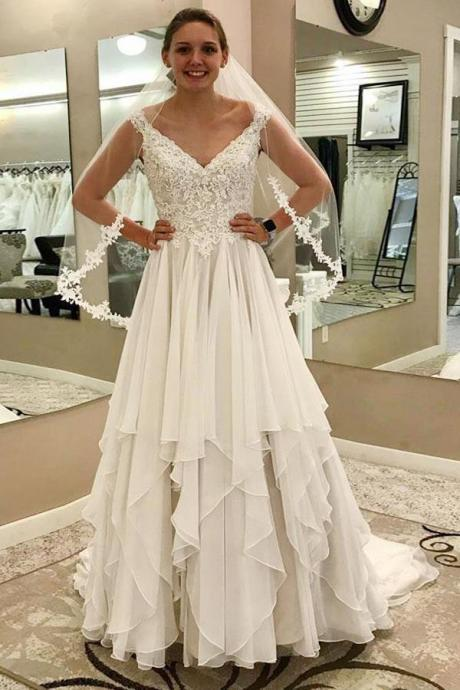 Charming Appliques Tulle A Line Wedding Dress, Elegant Bridal Gown Vestido de novia,BW93658