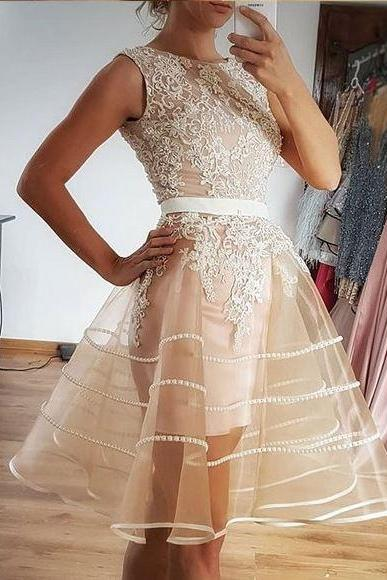 Simple Pretty Champagne Tulle Lace Short Prom Dress, BW93879