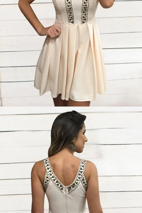 Simple Short Homecoming Dress, Short Prom Dress with Beading, Round Neck Party Dress, BW93881