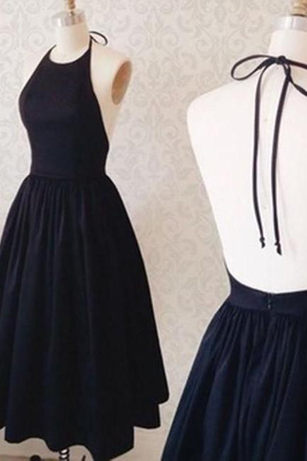 Halter Neck Backless Black Short Prom Dress, Black Homecoming Dress, BW9710