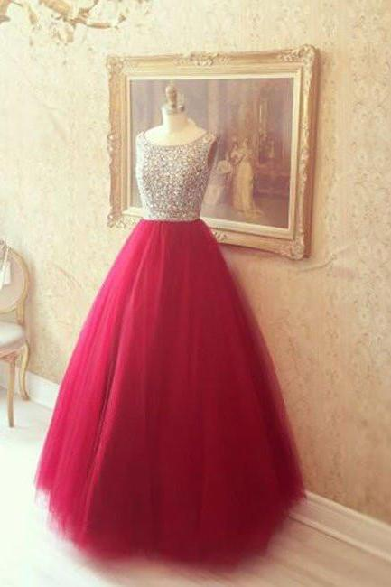 Round Neck Red Prom Dresses, Red Evening Dresses, Red Long Dresses, BW9714