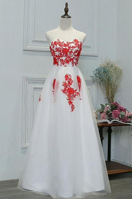 A Line Round Neck Red Lace Appliques White Prom Dresses, Lace White Formal Dresses, Lace Appliques White Graduation Dresses, BW9715