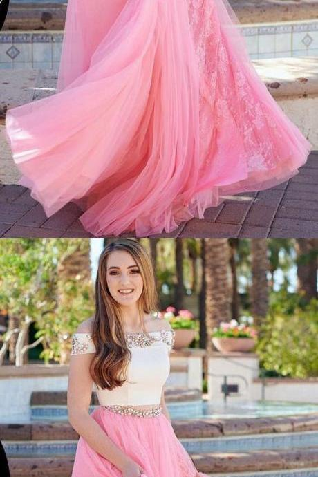 Beautiful Cute A-Line Two Piece Off the Shoulder White and Pink Tulle Long Prom Dress, BW9721