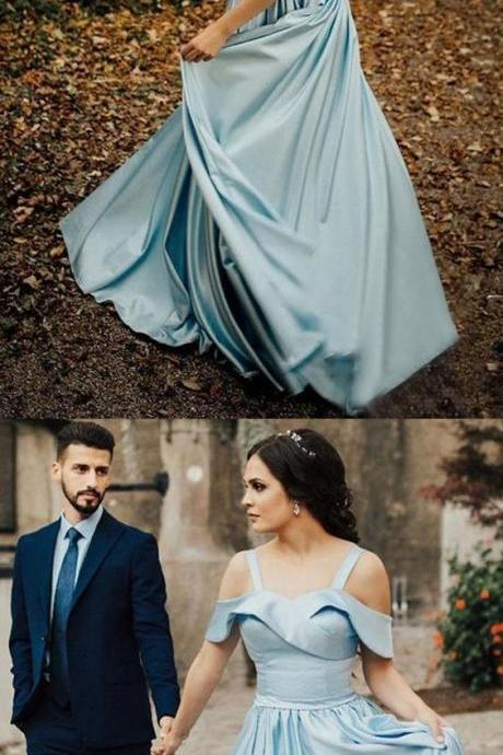 Beautiful Elegant A-Line Off the Shoulder Open Back Blue Satin Long Prom Dress, BW9721