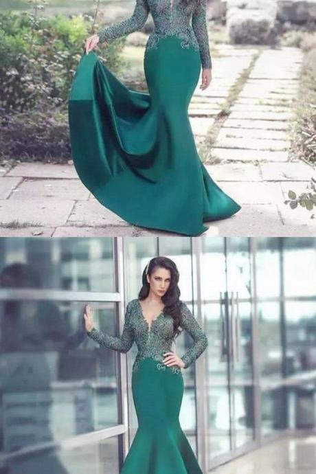 Elegant Beautiful Mermaid V-Neck Long Sleeves Dark Green Long Prom Dress with Lace, BW9725