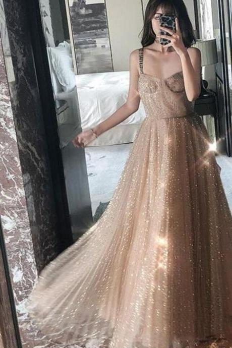 Straps Sparkly Gold A-line Long Evening Prom Dresses, Charming Customized Sweet 16 Dress, BW9726