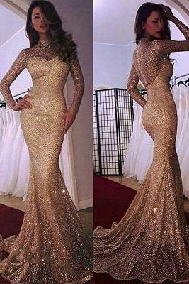 Sparkly Beautiful Mermaid High Neck Long Sleeves Sequins Court Train Prom Dress Evening Dresses, BW9728