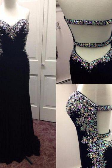 Beaded Adorned Chiffon Sweetheart Floor Length Formal Dress Featuring Open Back, Prom Dress