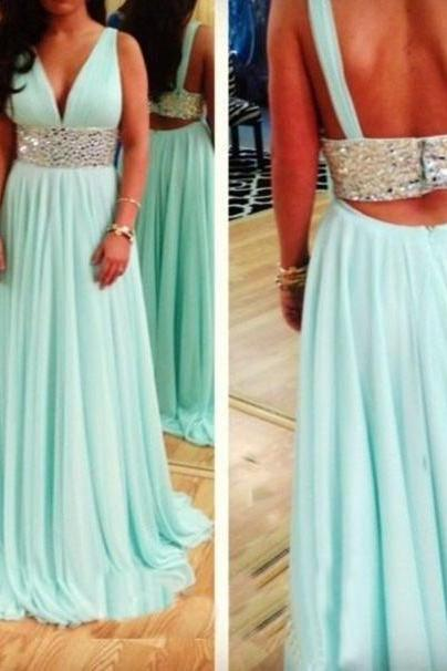 Charming Prom Dress,Two Pieces Prom Dress,A-Line Prom Dress,Chiffon Prom Dress,Beading Evening Dress,PD1700031