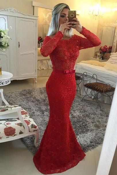 Charming Prom Dress,O-Neck Prom Dress,Mermaid Prom Dress,Lace Prom Dress,Long-Sleeves Evening Dress,PD1700043