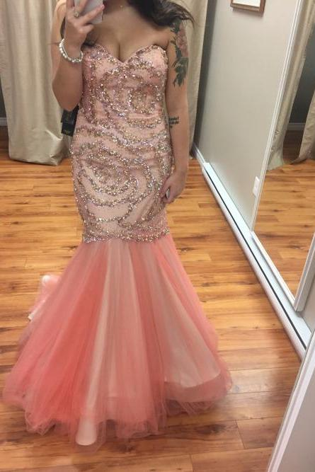 Charming Prom Dress, Sweetheart Prom Dress,Mermaid Prom Dress,Tulle Prom Dress,Beading Evening Dress,PD1700053