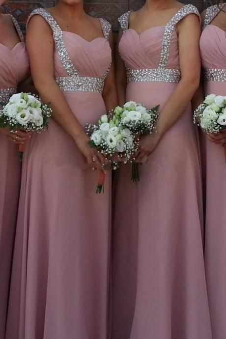 Charming Prom Dress,Chiffon Bridesmaid Dress,Beading Bridesmaid Dress,A-Line Prom Dress,PD1700093