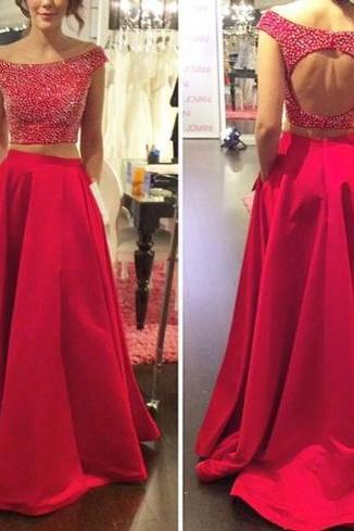 Charming Prom Dress,2 Pieces Prom Dress,O-Neck Prom Dress,Beading Prom Dress,Backless Prom Dress,PD1700094