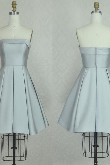 Strapless Satin A-line Short Homecoming Dress, Cocktail Dress, Party Dress, Prom Dress