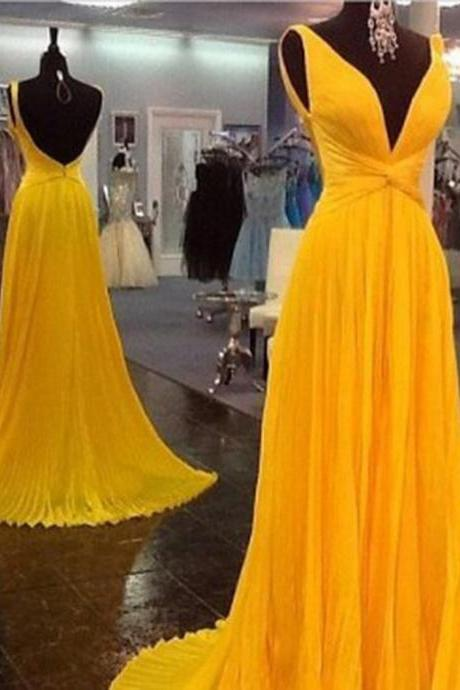High Quality Prom Dress,Chiffon Prom Dress,Pleat Prom Dress,Backless Prom Dress,V-Neck Prom Dress,PD1700150