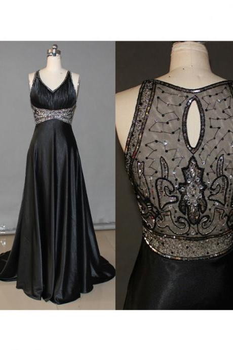 High Quality Prom Dress,Satin Prom Dress,A-Line Prom Dress,Beading Prom Dress,V-Neck Prom Dress,PD1700151