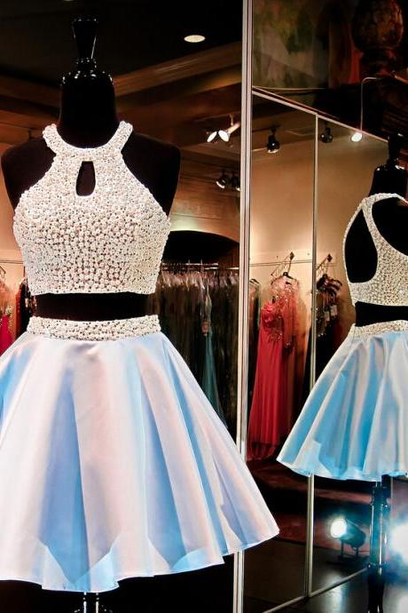 Charming Homecoming Dress,Satin Homecoming Dress,Halter Homecoming Dress,Beading Homecoming Dress,PD1700221